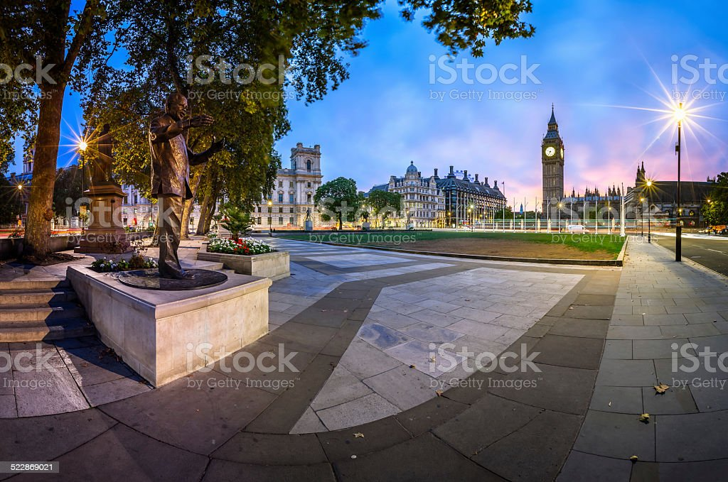 Panorama of Parliament Square and Queen Elizabeth Tower stock photo