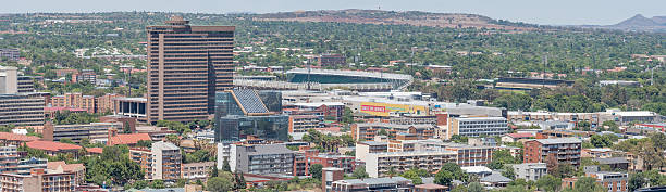 Panorama of part of the Central Business District in Bloemfontei stock photo