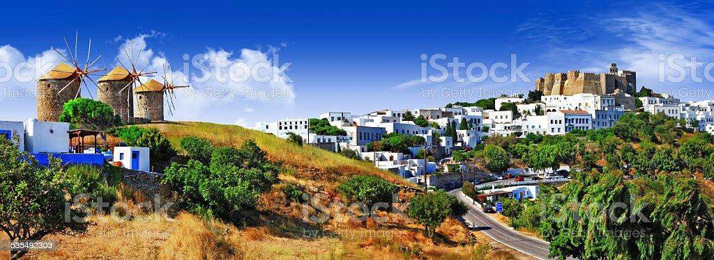 Panorama of Patmos island.Greece. stock photo