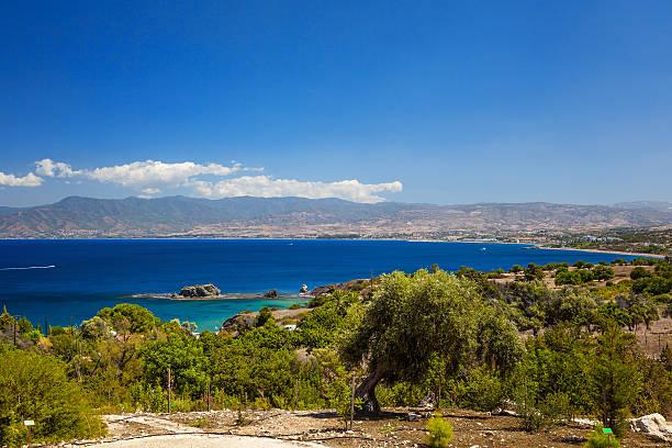 Panorama of peninsula Akamas, Cyprus stock photo