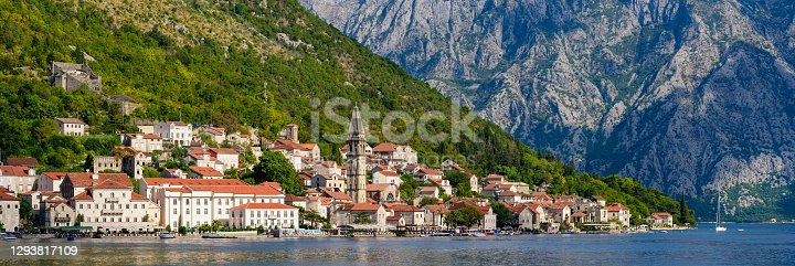 Panorama of Perast, an old town on the Bay of Kotor in Montenegro