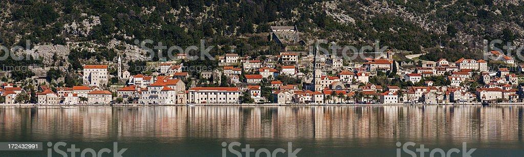 Panorama of Perast, Montenegro royalty-free stock photo