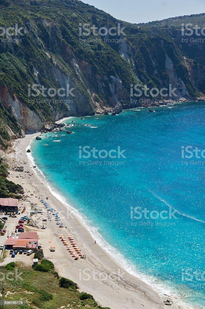 Panorama of Petani Beach, Kefalonia, Greece stock photo