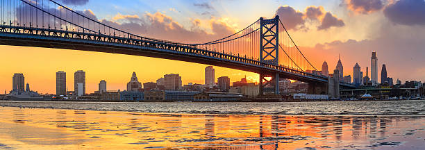 panorama of philadelphia skyline, ben franklin bridge and penn's - philadelphia skyline stock photos and pictures