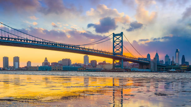 Panorama of Philadelphia skyline with Ben Franklin Bridge and Penn's Landing stock photo