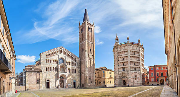 Panorama of Piazza Duomo in Parma stock photo