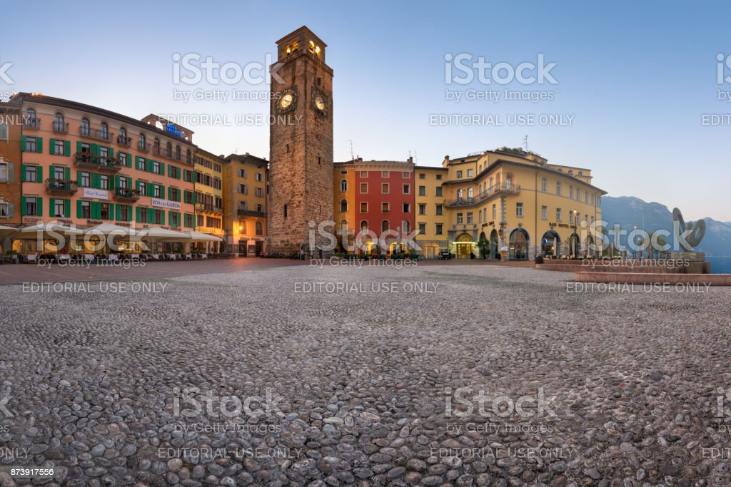 Panorama of Piazza III November and Aponale Tower in the Morning, Riva del Garda, Italy stock photo
