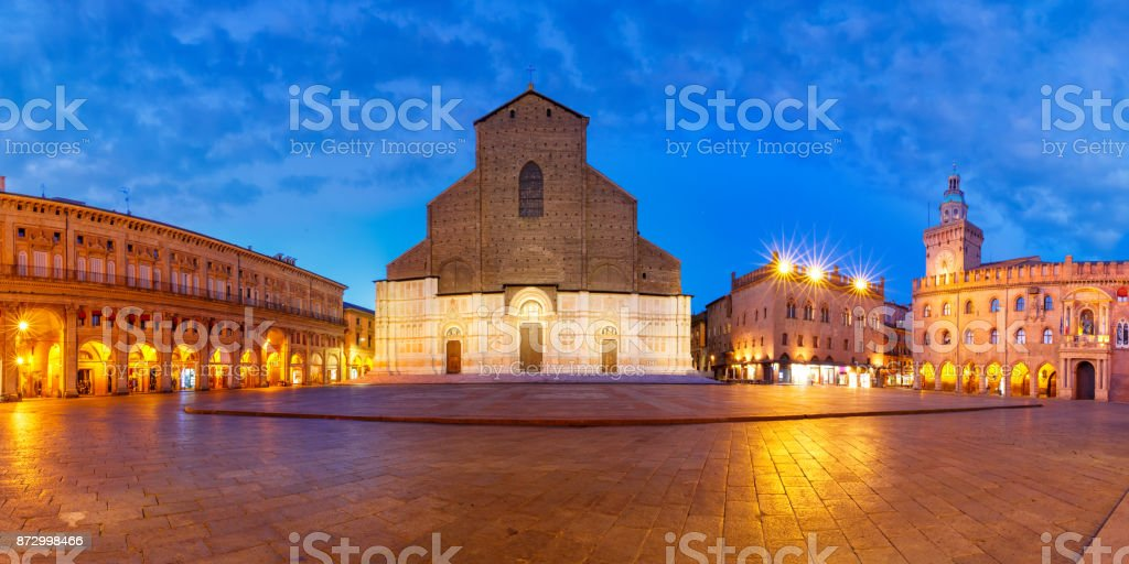 Panorama of Piazza Maggiore square, Bologna, Italy stock photo
