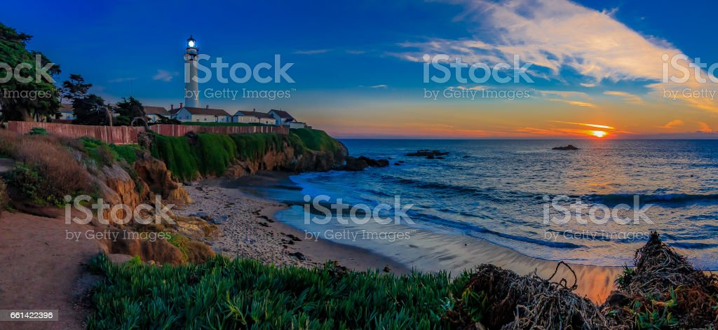 Panorama of Pigeon Pight Lightouse in California at sunset stock photo