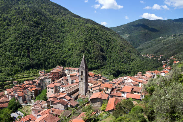 Panorama of Pigna village, historic centre - Imperia Province stock photo
