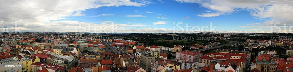Panorama of Pilsen stock photo
