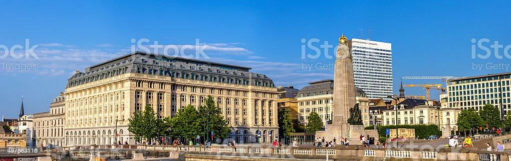 Panorama of Poelaert Square in Brussels - Belgium stock photo