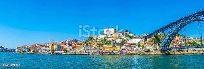 Panorama of porto with Luis I bridge, Portugal.