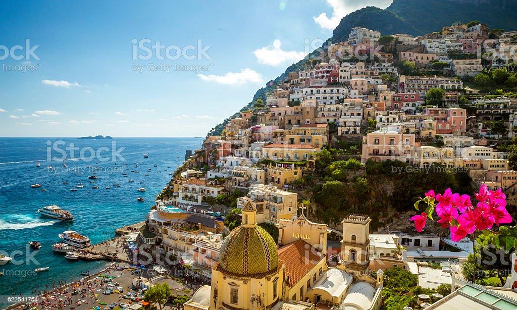 Panorama of Positano town, Amalfi Coast, Italy stock photo