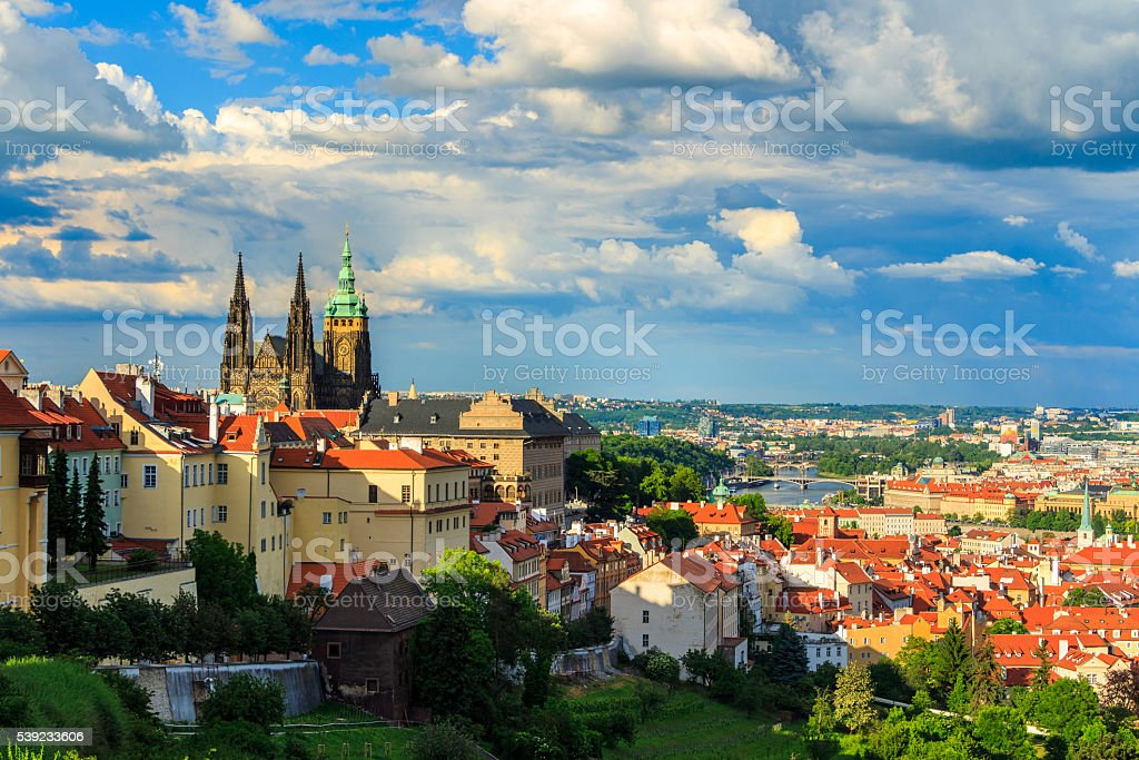 Panorama of Prague, Castle and St. Vitus cathedral royalty-free stock photo