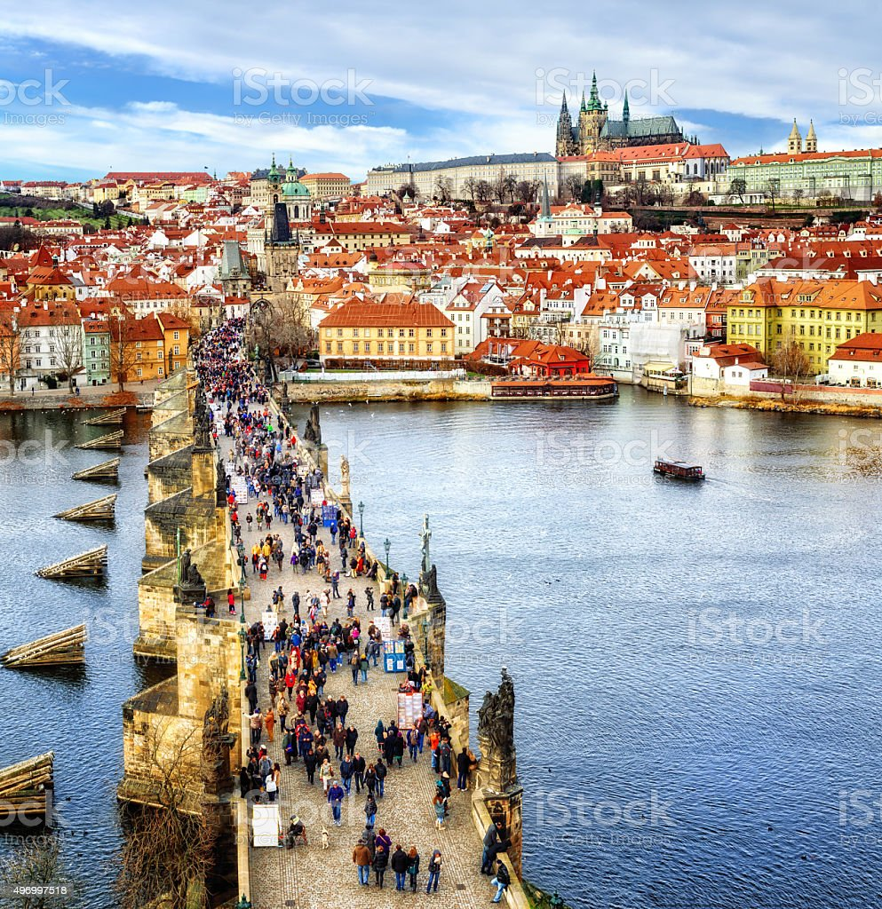 Panorama of Prague, Czech Republic stock photo
