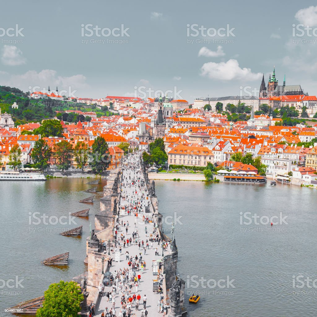 Panorama of Prague from the Old Town Bridge Tower, Czech Republic. stock photo