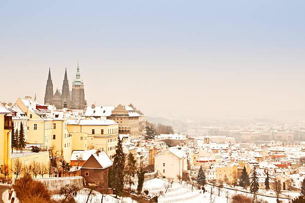 プラハで冬のパノラマ ストックフォト