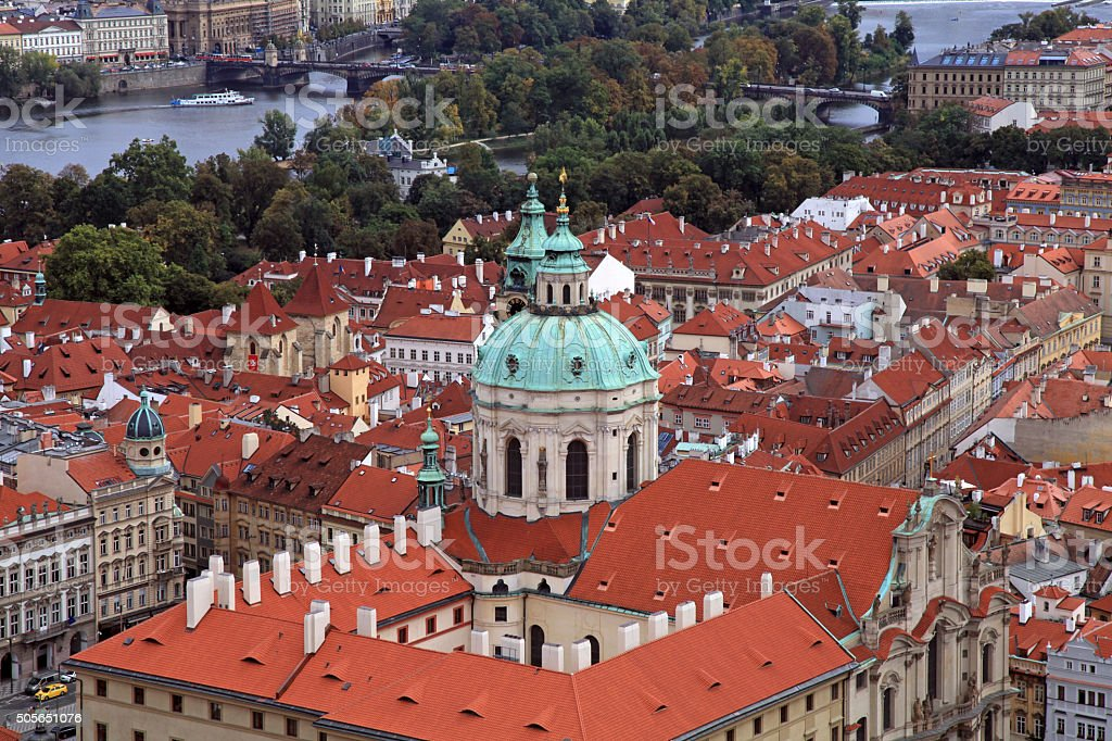 Panorama of Prague Old Town and Vltava river stock photo