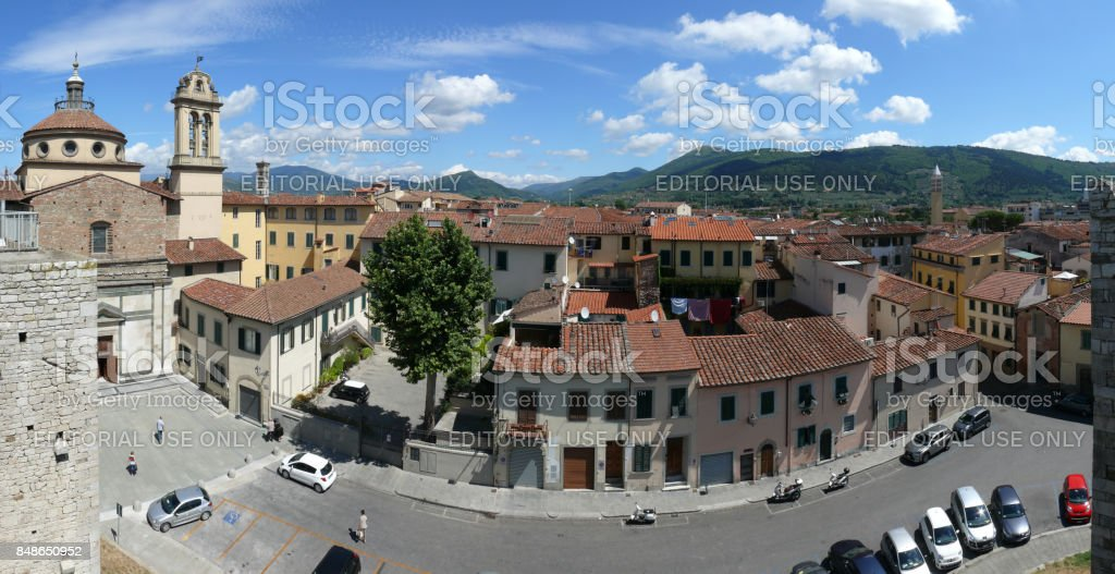 Panorama of Prato from Emperor's castle stock photo