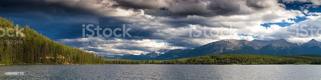 Panorama of Pyramid Lake stock photo