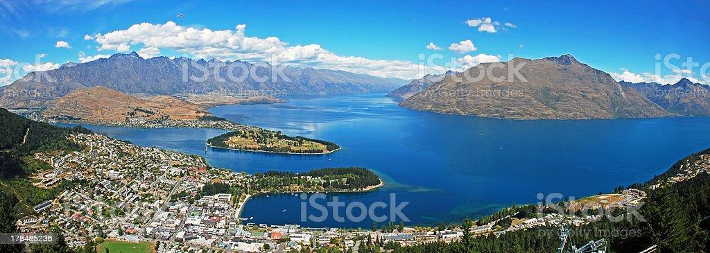 Panorama of Queenstown, New Zealand stock photo