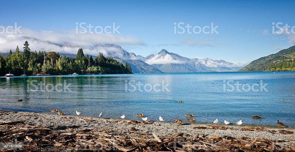 Panorama of Queenstown's Lake Wakatipu, New Zealand stock photo
