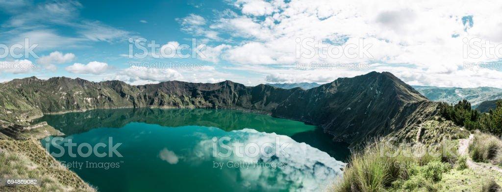panorama of quilotoa loop stock photo