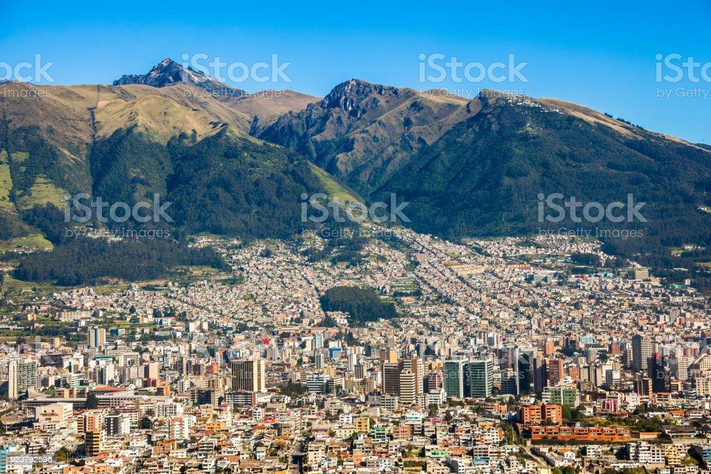 Panorama of Quito Panorama of Quito capital of Ecuador Aerial View Stock Photo