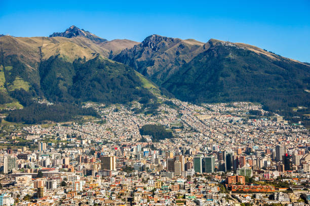 Panorama of Quito Panorama of Quito capital of Ecuador libro stock pictures, royalty-free photos & images