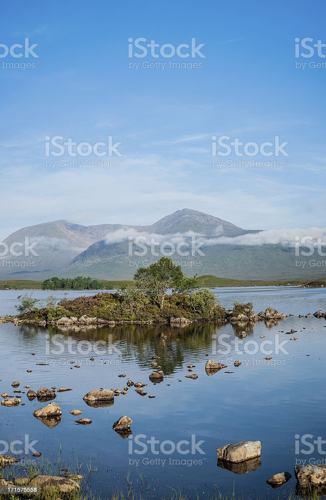 Panorama of Rannoch Moor Lake with Mountains in Background stock photo