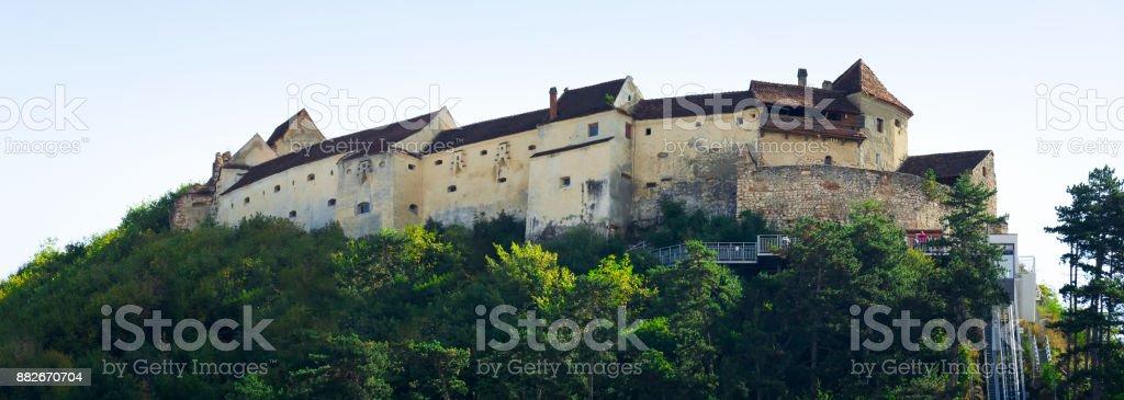 Panorama of Rasnov Fortress, Brasov, Romania stock photo