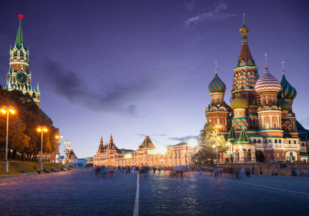 Panorama of Red Square in Moscow by night, Russia Panorama of Red Square in Moscow by night, Russia kremlin stock pictures, royalty-free photos & images