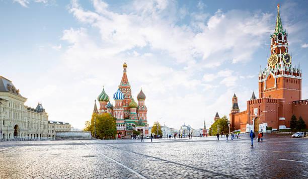 panorama of red square in moscow, russia - moscovo - fotografias e filmes do acervo