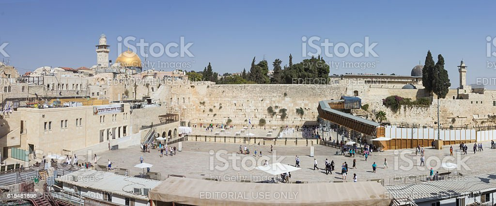 Panorama of remnant of the ancient wall  in Jerusalem, Israel stock photo