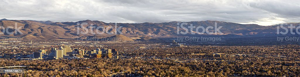 Panorama of Reno, Nevada at Sunset royalty-free stock photo