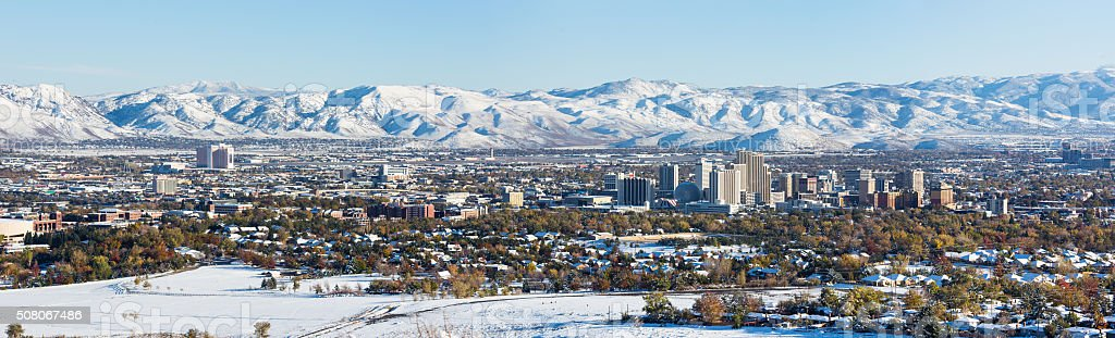 Panorama of Reno, Nevada covered in snow stock photo