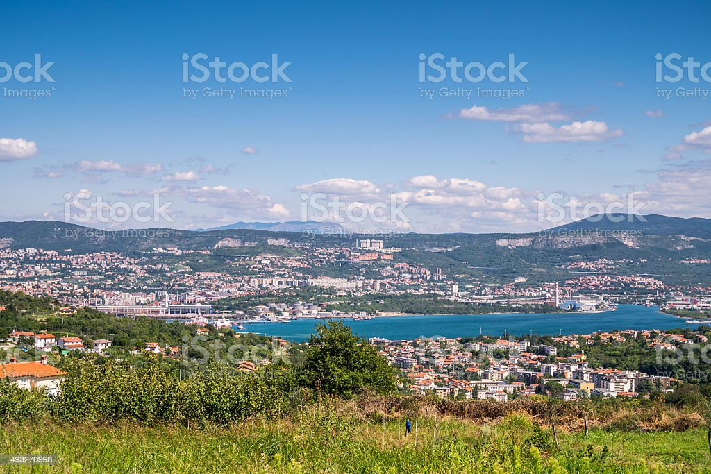 Panorama of residential area and port in Trieste, Italy stock photo