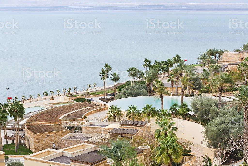 panorama of resort on Dead Sea coast royalty-free stock photo