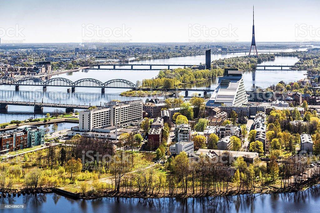 Panorama of Riga city. Latvia stock photo