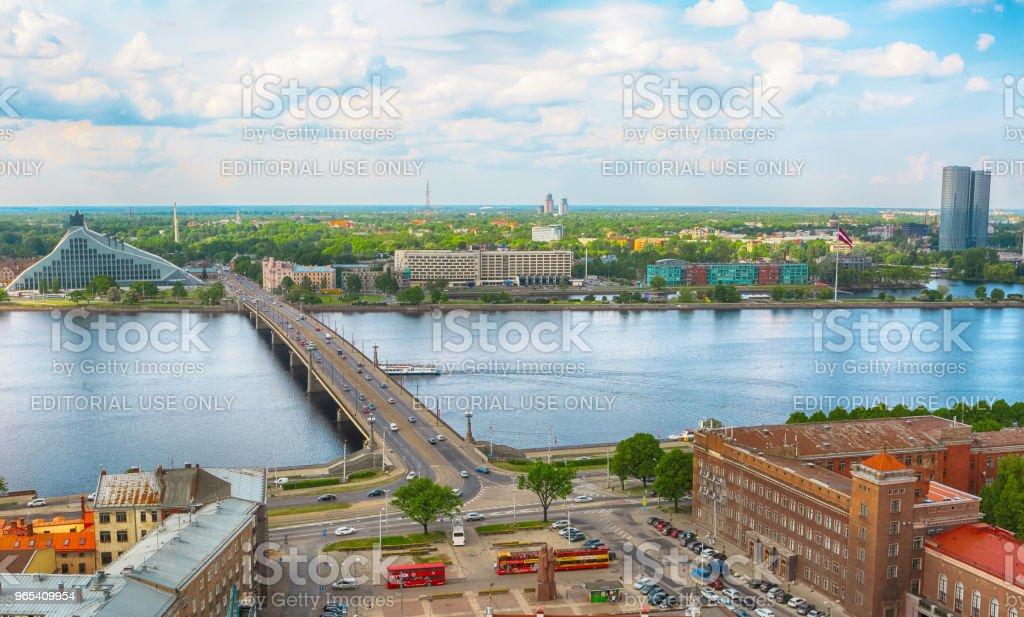Panorama of Riga, Latvia zbiór zdjęć royalty-free