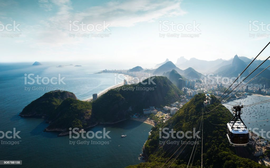 Panorama of Rio de Janeiro from Sugarloaf mountain, Brazil stock photo