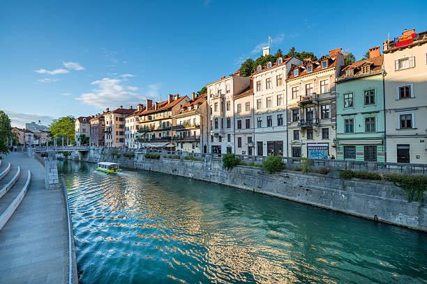 Panorama of river Ljubljanica, Ljubljana, Slovenia, Europe. Cityscape of the Slovenian capital Ljubljana. ljubljanica river stock pictures, royalty-free photos & images