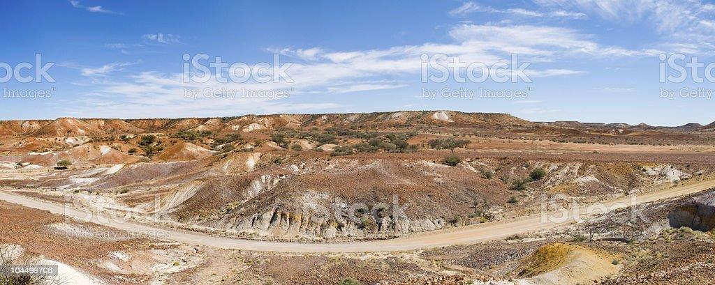 Panorama of Road through Painted Desert, Australia stock photo