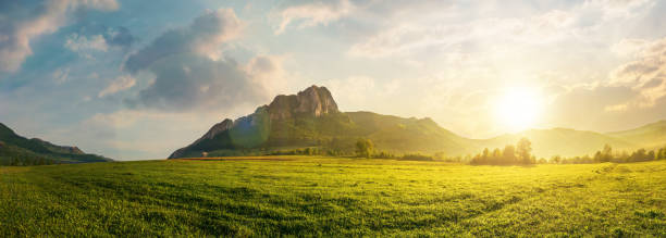 panorama of romania countryside at sunset stock photo