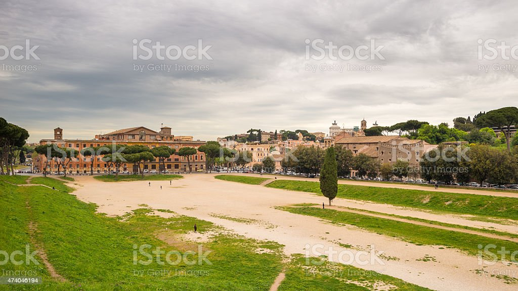 Panorama of Rome from Circo Massimo, Italy stock photo