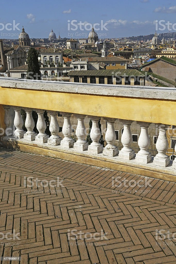 Panorama of Rome from wonderful terrace, vertical royalty-free stock photo