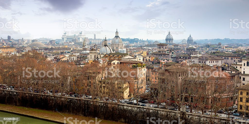 Panorama of Rome historic center, Italy foto royalty-free