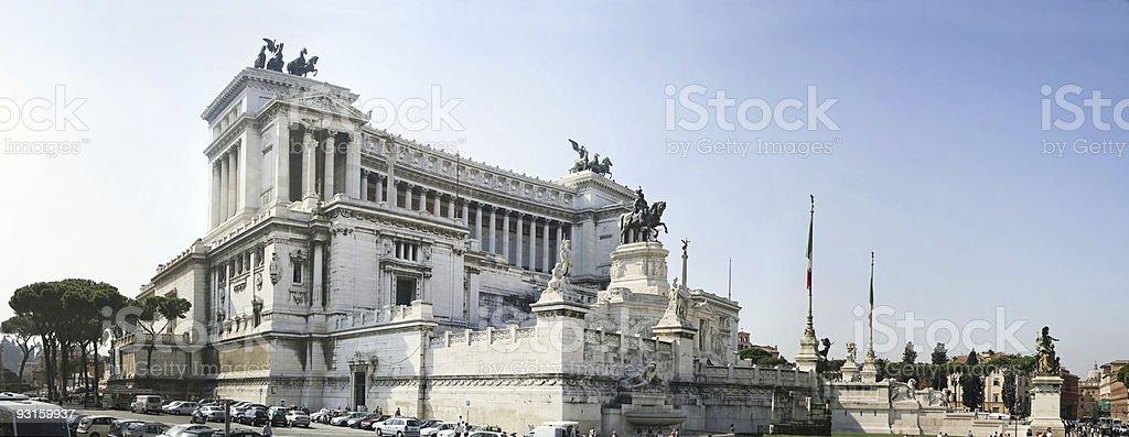 XXL Panorama of Rome - Vittorio Emanuele II monument stock photo