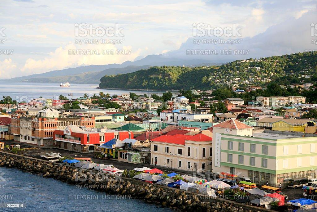 Panorama of Roseau, Dominica stock photo